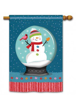 Snow Globe House Flag | Yard Flags | Snowman Flags | Winter Flags