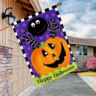 Spider and Jack House Flag | Halloween Flags | Garden House Flags