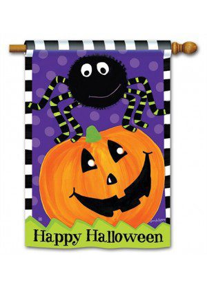 Spider and Jack House Flag | Halloween Flags | Holiday Flags | Fall Flags