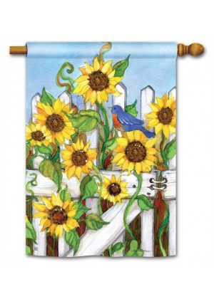 Sunflower Gate House Flag | Fall Flags | Floral Flags | Bird Flags | Flags