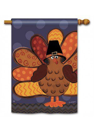 Tom Turkey House Flag | Thanksgiving Flags | Holiday Flags | Yard Flags
