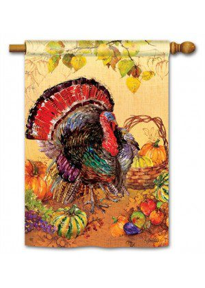 Wild Turkey House Flag | Thanksgiving Flags | Holiday Flags | Yard Flags