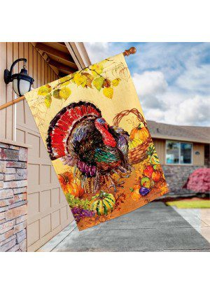 Wild Turkey House Flag | Thanksgiving Flags | Flag | Garden House Flags