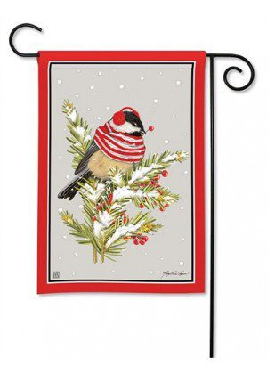 Winter Chickadee Garden Flag | Winter Flags | Bird Flags | Yard Flags