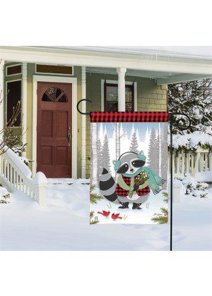 Winter Fun Raccoon Garden Flag | Winter Flags | Garden House Flags