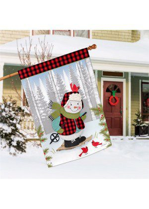 Winter Fun Snowman House Flag | Winter Flags | Garden House Flags