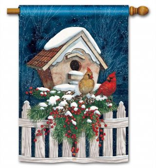 Winter Home Cardinals House Flag | Winer Flags | Bird Flags | Yard Flags