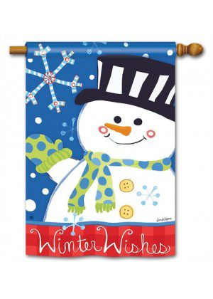 Winter Wishes House Flag | Winter Flag | Cool Flag | Snowman Flags
