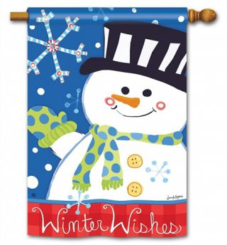 Winter Wishes House Flag | Winter Flags | Yard Flags | Snowman Flags