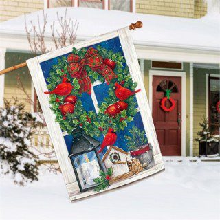 Wreath in the Window House Flag | Christmas Flags | Garden House Flags