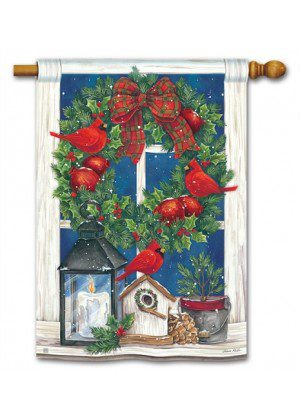 Wreath in the Window House Flag | Winter Flags | Bird Flags | Yard Flags