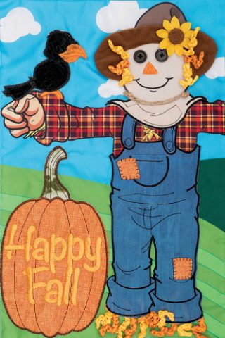 Applique Scarecrow Crow Flag | Applique Flags | Fall Flags | Cool Flags