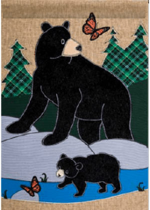 Bear Family Flag | Burlap Flag | Wildlife Flag | Two Sided Flag | Cool Flag