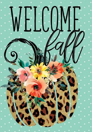 Cheetah Pumpkin Flag | Fall Flags | Welcome Flags | Floral Flags | Flags