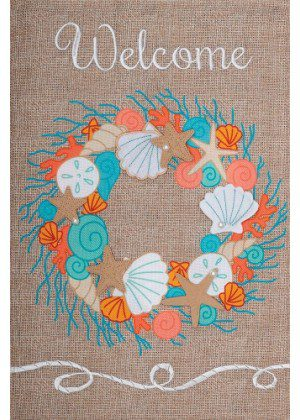 Coral Wreath Flag | Burlap Flags | Welcome Flags | Double Sided Flags
