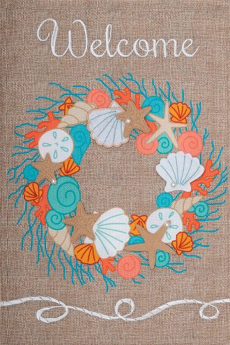 Coral Wreath Flag | Burlap Flags | Garden Flags | Garden House Flags