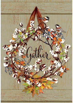 Cotton Wreath Flag | Thanksgiving Flags | Fall Flags | Floral Flags | Flags