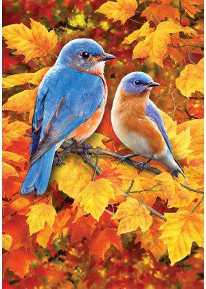 Fall Bluebirds Flag | Fall Flags | House Flags | Garden Flags | Bird Flags