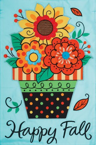 Fall Flowers Flag | Applique Flags | Garden Flags | Garden House Flags