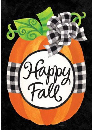 Gingham Pumpkin Flag | Garden Flags | House Flag | Garden House Flags