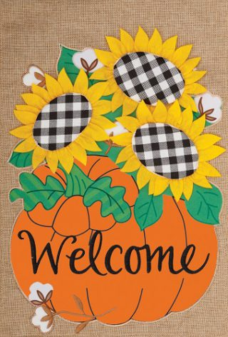 Gingham Sunflowers Flag | Burlap Flags | Welcome Flags | Two Sided Flag