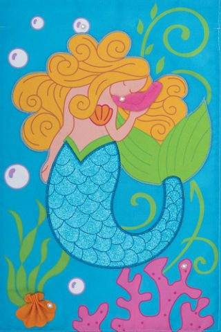 Mermaid Glitter Flag | Applique Flags | Summer Flag | Double Sided Flags