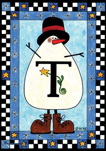 Monogram Snowman Flags