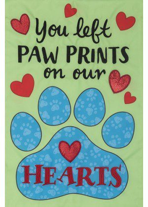 Paw Prints Flag | Applique Flags | Garden Flags | Garden House Flags