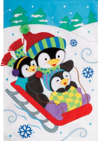 Penguin Sled Flag | Applique Flags | Flags | Two Sided Flags | Cool Flags