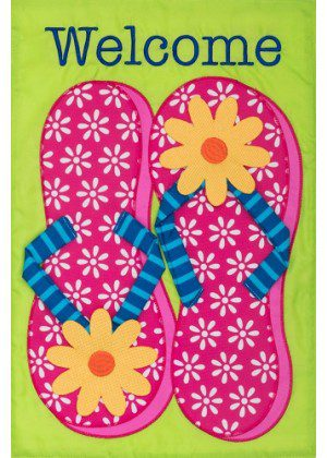 Pink Flip Flops Flag | Applique Flag | Welcome Flag | Double Sided Flags