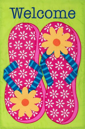 Pink Flip Flops Flag | Applique Flag | Flag | Garden House Flags