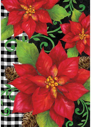 Poinsettia Check Flag | Christmas Flags | Winter Flags | Holiday Flags
