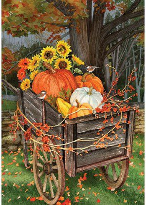 Pumpkin Wheelbarrow Flag | Floral Flags | Fall Flags | Thanksgiving Flags