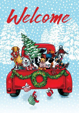 Puppy Truck Flag | Christmas Flags | Two-sided Flags | Animal Flags
