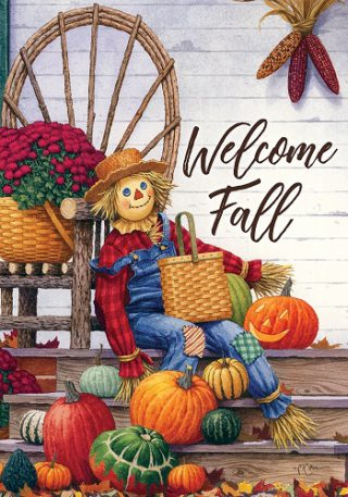 Scarecrow Porch Flag | Fall Flags | Thanksgiving Flags | Welcome Flags