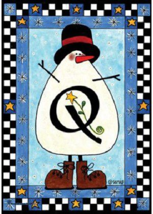 Snowman Monogram-Q Flag | Monogram Flags | Winter Flags | Yard Flags