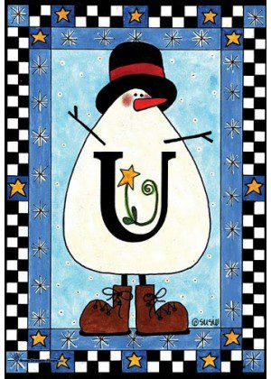 Snowman Monogram-U Flag | Monogram Flags | Winter Flags | Yard Flags