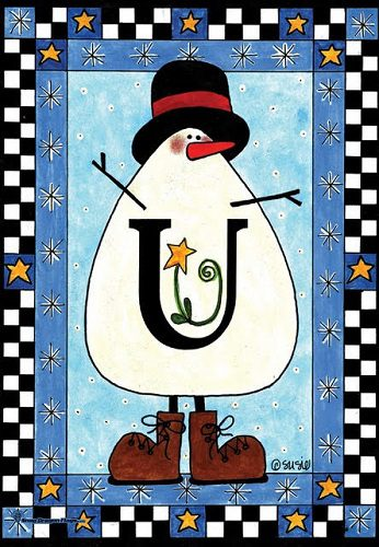 Snowman Monogram - U Flag | Monogram Flags | Garden House Flags
