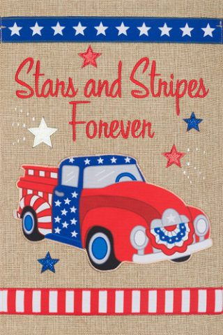 Stars & Stripes Truck Flag | Burlap Flags | Patriotic Flags | 4th of July Flags