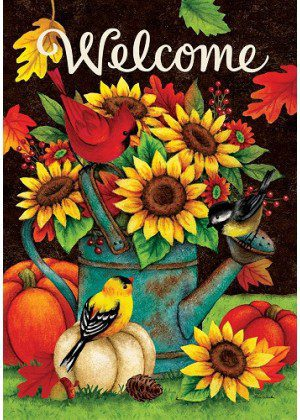 Sunflowers & Birds Flag | Welcome Flag | Fall Flag | Double Sided Flags