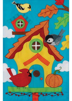 Whimsy Birdhouse Flag | Applique Flags | Bird Flags | Fall Flag | Cool Flag