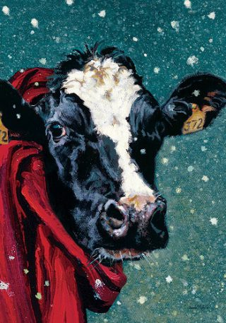 Winter Cow Flag | Winter Flags | Animal Flags | Decorative Garden Flags
