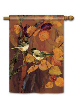 Autumn Chickadees House Flag | Fall Flags | Bird Flags | Yard Flags