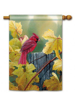 Grapevine Cardinal House Flag | Fall Flags | Bird Flags | Yard Flags