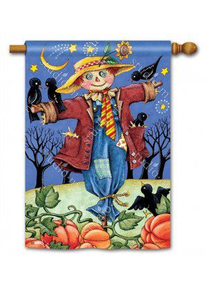 Moonlight Scarecrow House Flag | Halloween Flags | Fall Flags | Yard Flag