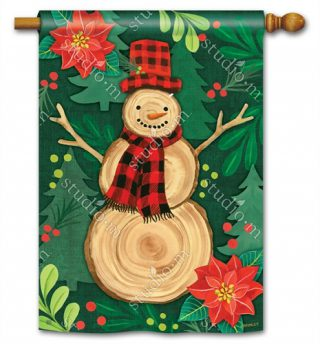 Woody House Flag | Christmas Flags | Snowman Flags | Winter Flags