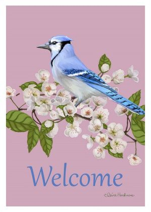 Welcome Blue Jay Flag | Welcome Flag | Bird Flag | Floral Flag | Yard Flag