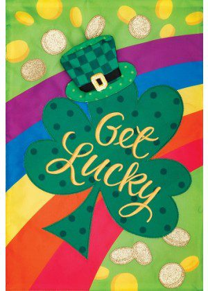 Get Lucky Flag | Applique Flags | St. Patrick's Day Flags | Two Sided Flags