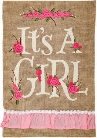 It's a Girl Burlap Flag | Burlap Flags | Cool Flags | Double Sided Flags