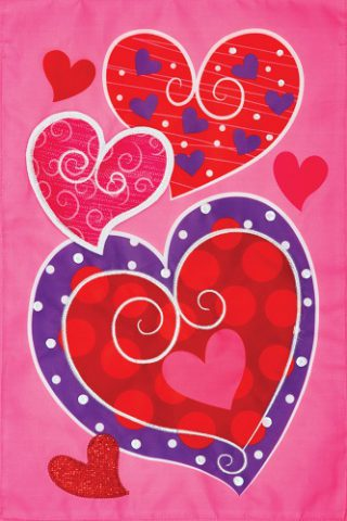 Whimsy Hearts Flag | Applique Flags | Valentine Flags | Double Sided Flag